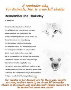 Remember Me Thursday For Animals